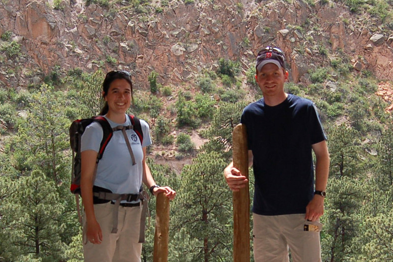 Us in the Ceremonial Cave, Bandelier National Monument, NM.