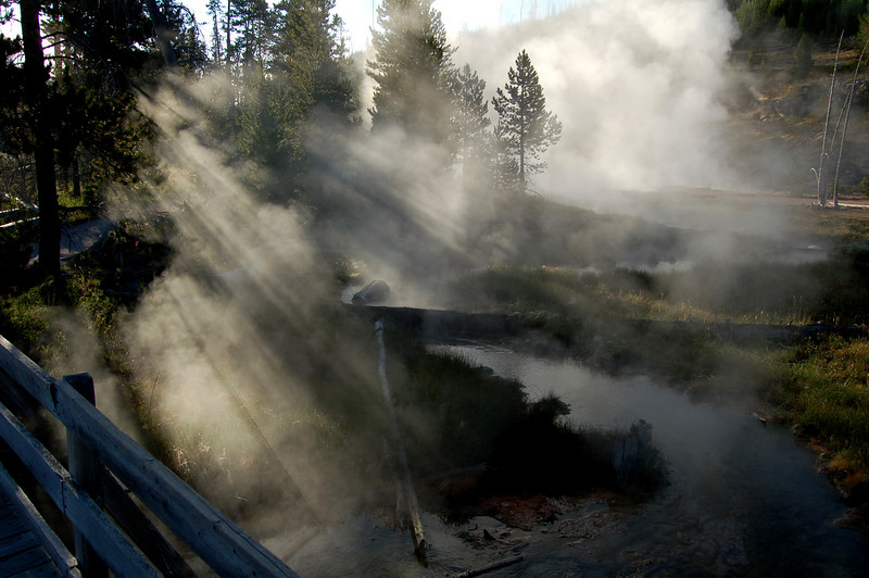 Steam rising in the early morning, Yellowstone National Park, WY.