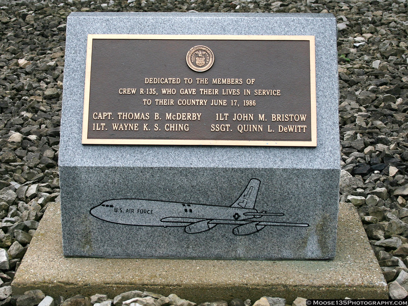 Memorial to crew R-135 of the 305th Air Refueling Wing, lost in a crash at Howard AFB, Panama, 17 June 1986.  RIP my friends.
