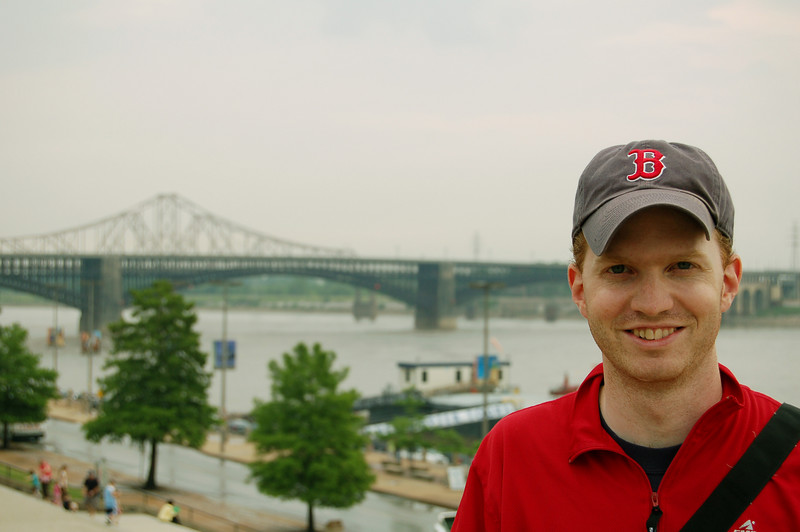 Rod in front of the Mississippi River, St Louis, MO.