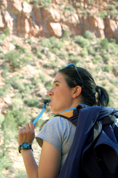 Michelle drinking up on the Watchman Trail, in Zion National Park, UT.