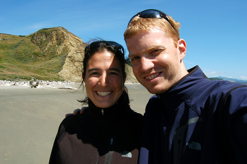 Michelle and Rod on the beach at Cape Blanco State Park, OR.