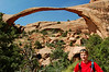 Rod in front of Landscape Arch, at Arches National Park, UT.