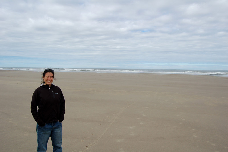 Michelle on one of the huge beaches on the Oregon coast, Beachside State Park, OR.