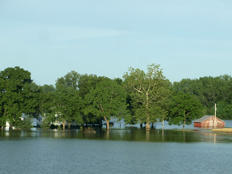 Farm flooded by the Mississippi River off of Route 61, near La Grange, Missouri.