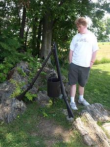 Regimental monument in form of rifles holding a cooking pot. Antietam National Battlefield Park, June 20, 2008.