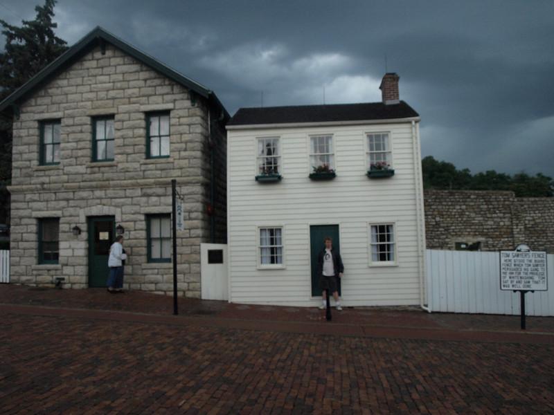 Mark Twain's boyhood home, on right, gift shop on left. Hannibal, Missouri, June 24, 2008.