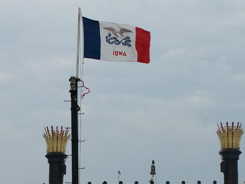 Iowa state flag, Dubuque, Iowa, July 2, 2008.