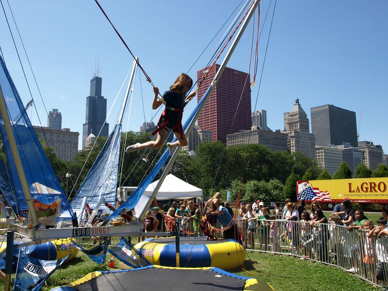 Amy flying high, Taste of Chicago food festival, Chicago, June 30, 2008.