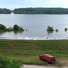 Mississippi River flooding, Hannibal, Missouri, June 24, 2008. Sandbags keep the river from flooding more of the town.