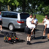 Members of the U.S. Army Golden Knights parachute team pack up, Best Western Hotel, Dubuque, Iowa, July 3, 2008.