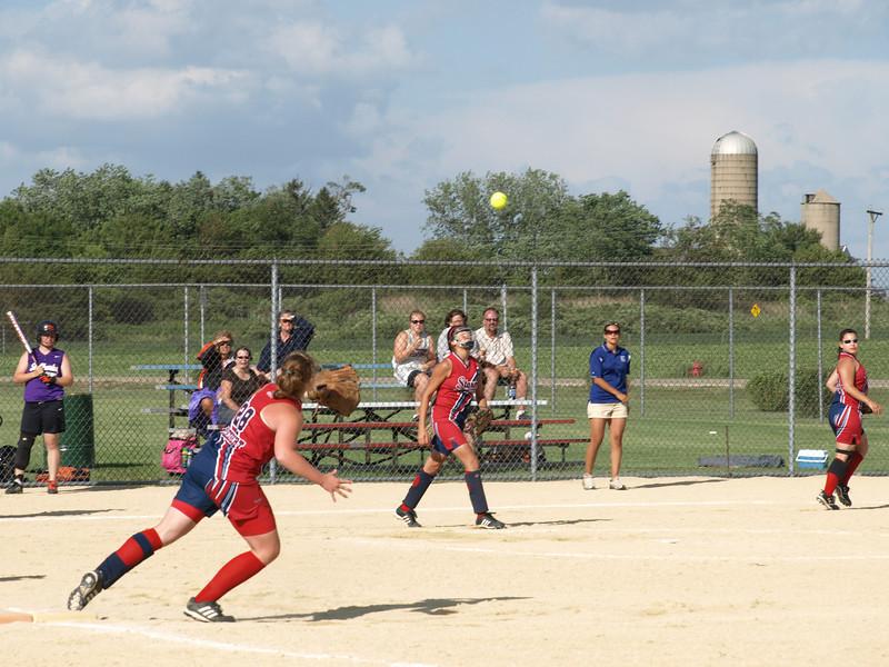 Tough play, girls softball tournament, Sycamore, Illinois, June 28, 2008.
