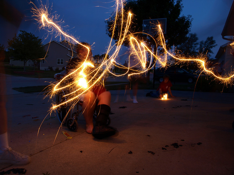 Painting with sparklers, Cedar Falls, IA, July 4, 2008.
