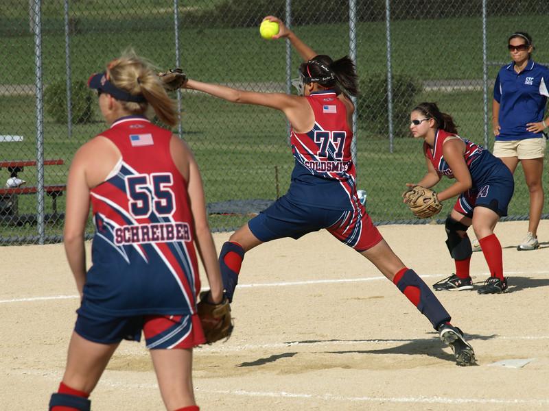 Jen pitches, girls softball tournament, Sycamore, Illinois, June 28, 2008.