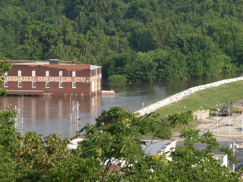 Flooded businesses and sandbag wall, Hannibal, Missouri, June 24, 2008.