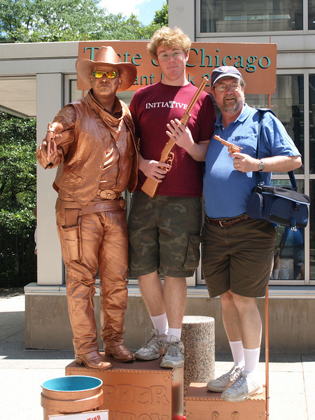 "Posing with the ""Copper Cowboy,"" Grant Park, Chicago, June 29, 2008."