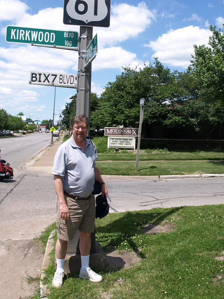 Tim at the site of his long vanished first home in Davenport, Iowa.