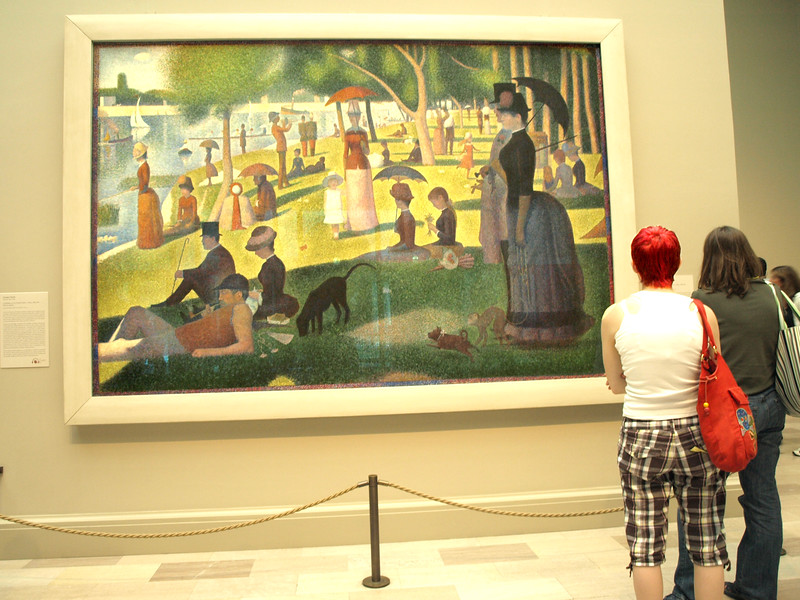 """Looking at  """"A Sunday Afternoon on the Island of La Grande Jatte"""" by Georges Seurat, Art Institute of Chicago, June 29, 2008."""