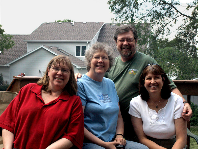 First cousins: from left, Susan Brown-Wadleigh, Lois Hamilton, me, Laura Goldsmith. Cedar Falls, IA, July 4, 2008.