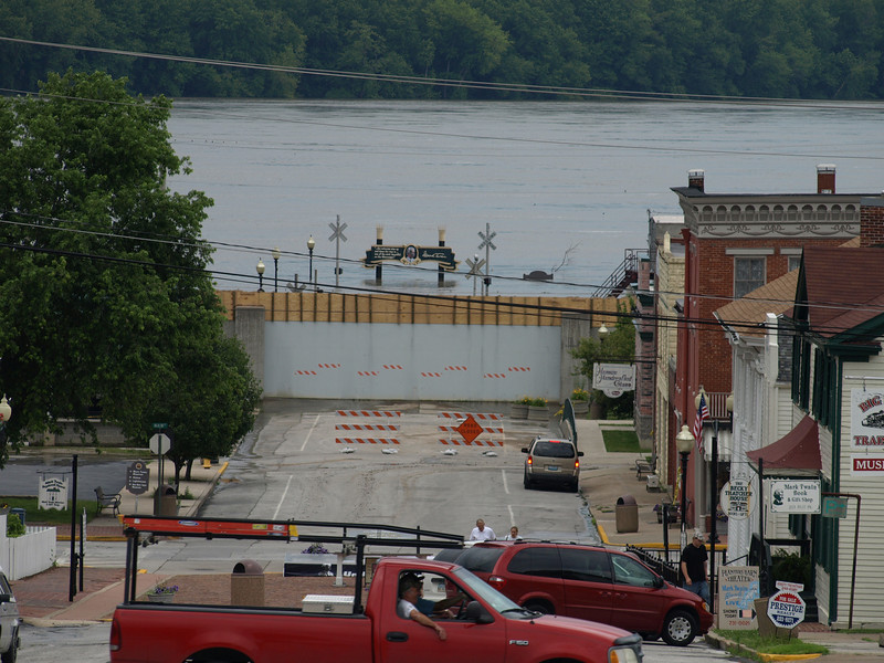 Mississippi River flooding, Hannibal, Missouri, June 24, 2008. Partially submerged steamboat landing is behind flood wall.