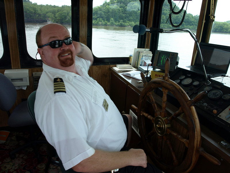 "Capt. Mike, SPIRIT of Dubuque Mississippi River cruise, July 2, 2008. When asked how long he has been piloting this boat he replied, ""About an hour and half."""
