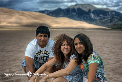 Darlene, Kethan & Vasantha at the Great Sand Dune National park, Colorado, July 28, 2010