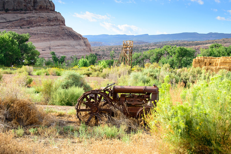 Old tractor left on the bank of the Colorado River, Utah