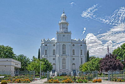The St. George Mormon Temple, announced on November 9th, 1871, by Brigham Young and dedicated on April 6th, 1877. It is the oldest temple still in use by the Church of Jesus Christ of Latter-Day Saints.