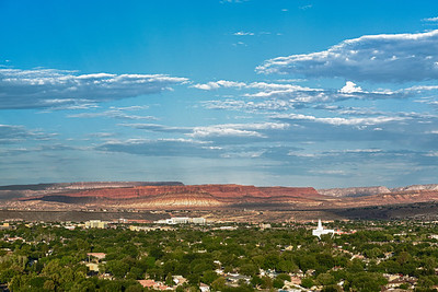 Looking southeast over St. George, Utah. The Mormon Temple is the white building on the right.
