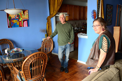 Paul and Juley in  Paul's apartment, Rockaway Park, New York.
