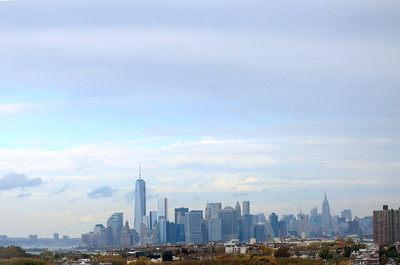 View from the Verrazano–Narrows Bridge. That's the new Freedom Tower, at left, dominating the Manhattan skyline.
