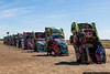 The world famous Cadillac Ranch, on I-40 outside of Amarillo, is made up of 10 classic Cadillacs buried in the ground.  Visitors are encouraged to spray paint the cars.