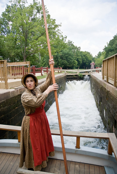 Ladies did the majority work steering and docking the canal boats.