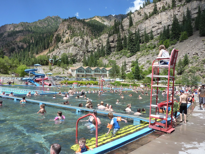 We stopped to cool off at the hot springs-fed pools in Ouray.  Very crowded but neat place; worth the stop :)