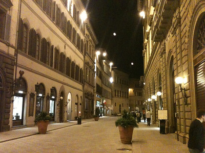 A Florentine street at night