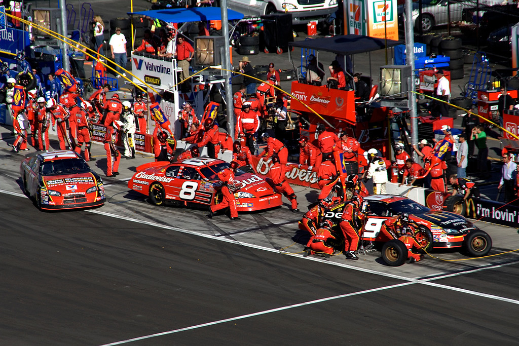 flurry of activity in pit row