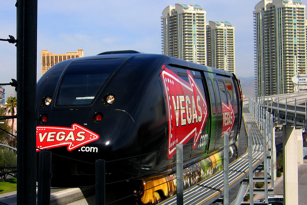 We got to ride the monorail from the convention center to the MGM Grand.