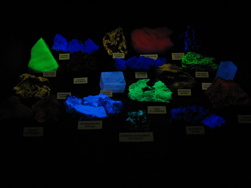 Minerals exposed to UV light - Dinosaur Museum, Dickinson, ND