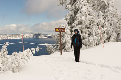 crater lake - atop the snow