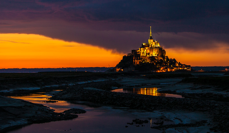 Abbey of Mont-St-Michel a little later after sunset<br /> <br /> ~ Image by Martin McKenzie, all rights reserved ~<br />  © copyright digitally watermarked / filigrane numérique copyright ©