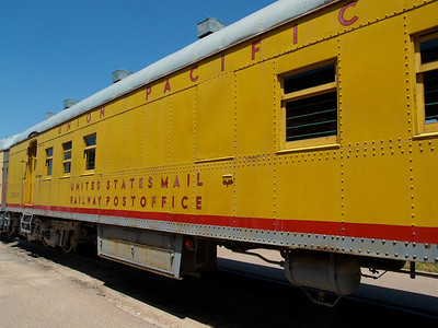 Railroad museum/park, North Platte, Nebraska  Mail Car; mail bags were picked up as they went and sorted  Copyright 2013 Neil Stahl