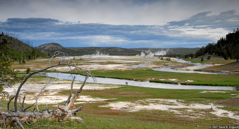 Firehole River flowing through the Midway Geyser Basin.
