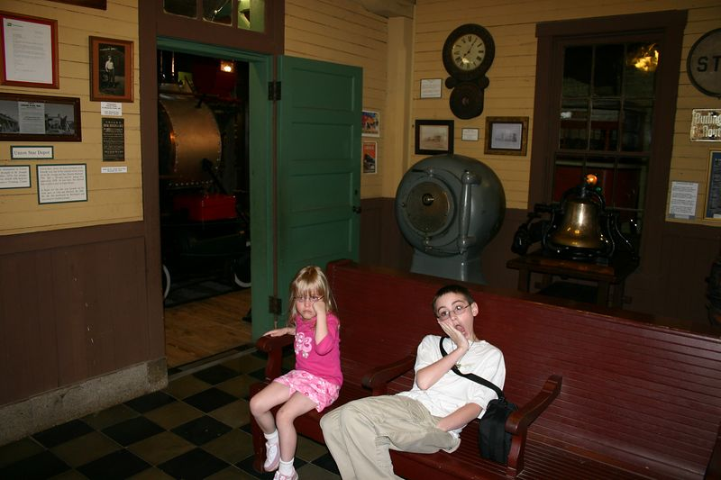 Molly mad, she spilled her drink in the saloon, and Trav the Spaz waiting in the train station replica