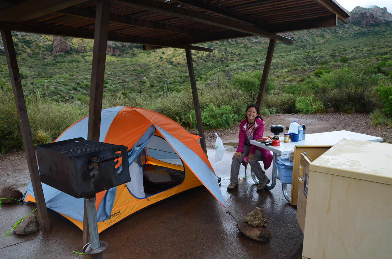 Setting up camp in Big Bend National Park. We stayed in the Chisos Basin campground, a little sheltered valley in the 4-5k foot Chisos Mountains. There were some initial doubts from some parties on the viability (or fun) of camping in the rain.