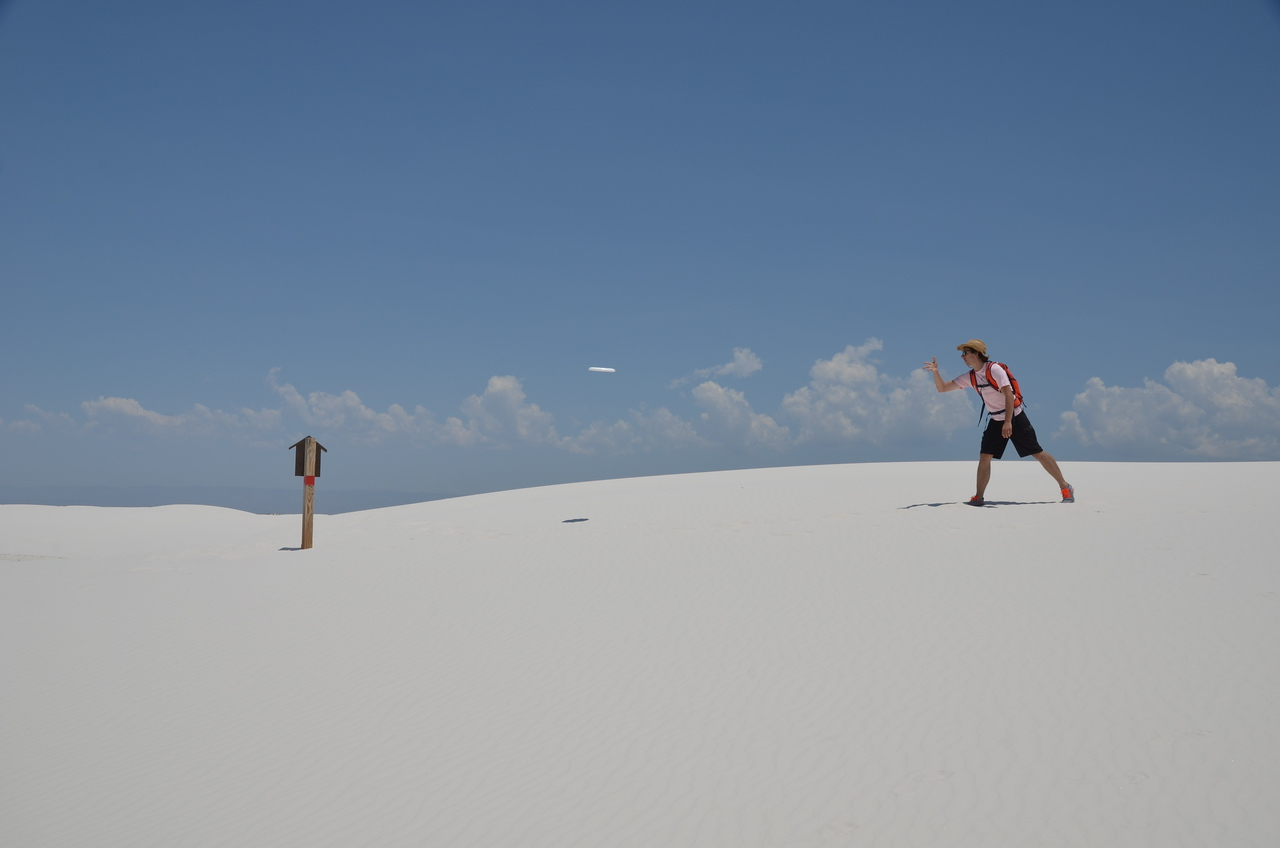 First official White Sands Frisbee Golf Tournament (played with only one disc due to a shortage of equipment).