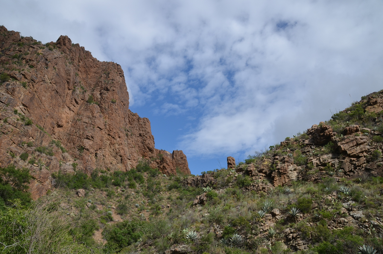 Hiking in the Chisos Mountains, in Big Bend National Park. The rain cleared up in time for a fantastic view.