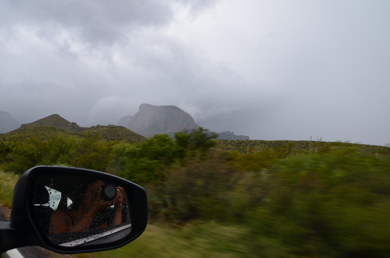 Driving into Big Bend National Park, in TX. A massive storm rolled in and shut down a lot of the roads in the park as we arrived - it also brought with it all the beauty of the desert in the rain.