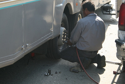 Fixing a flat in LaVerne, CA (near Los Angeles) - June 13, 2010