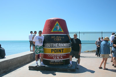 Joe and Gary at the Southernmost point in the Continental United States, roughly 90 miles from Cuba. Key West, Florida - March 2010