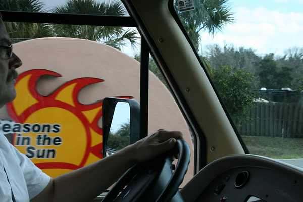 Entering Seasons in the Sun RV Resort at Mims, Florida, on the Space Coast near Kennedy Space Center.